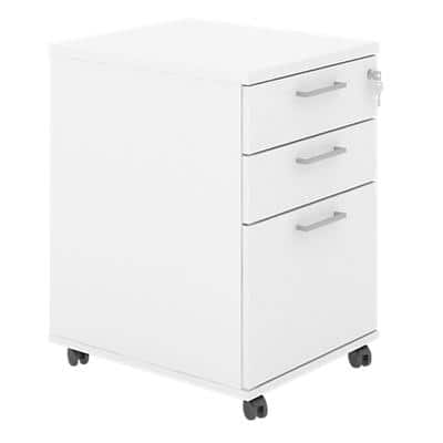 Pedestal with 3 Lockable Drawers MFC 415 x 500 x 638mm White