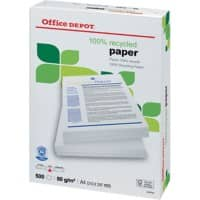 Office Depot 100% Recycled Printer Paper A4 80 gsm Off-White 85 CIE 500 Sheets