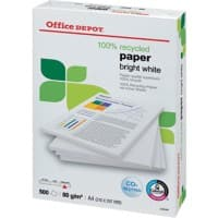 Office Depot 100% Recycled Printer Paper A4 80 gsm Bright White 150 CIE 500 Sheets