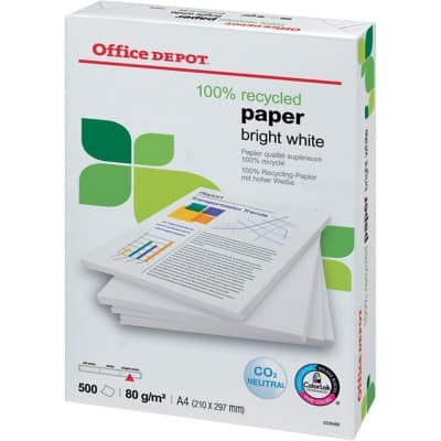 Office Depot Printer Paper 100% Recycled A4 80gsm Bright White 150 CIE 500 Sheets