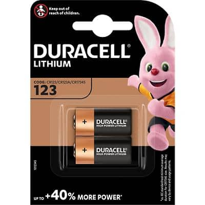 Duracell 123 Batteries CR17345 High Power Ultra 3V Lithium Pack of 2