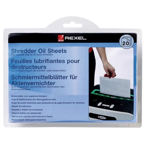 Rexel Shredder Oil Lubricant Sheets Pack of 20