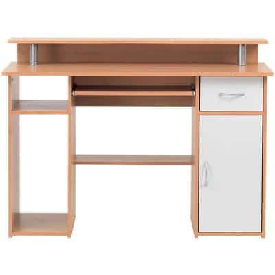 Alphason Rectangular Modern Computer Workcentre with Beech Coloured Melamine Top and 1 Drawer Albany 1200 x 470 x 870mm