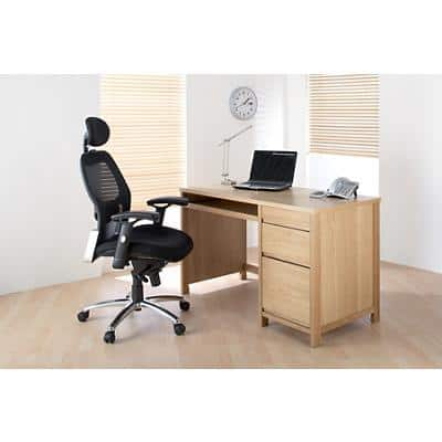 Alphason Rectangular Veneer Desk with Oak Coloured Melamine Top and 3 Drawers Hunter 1200 x 600 x 730 mm