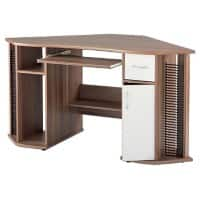 Alphason Corner Computer Desk with Walnut & White Melamine Top and 1 Drawer Lyndon 1460 x 750 x 760 mm