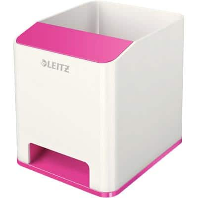 Leitz WOW Sound Pencil Pot Dual Colour White, Pink 9 x 10 x 10.1 cm