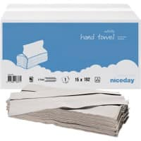 Niceday Hand Towels White C-fold 1 Ply Paper 15 Sleeves of 192 Sheets