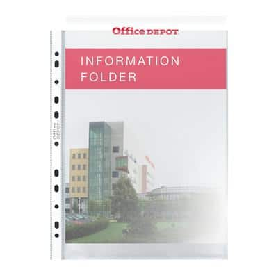 Office Depot Punched Pockets A4 Polypropylene Perforated 80 Micron Transparent