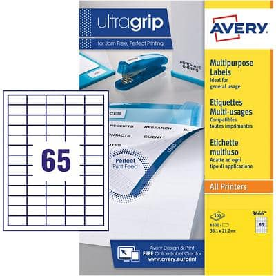 AVERY Multipurpose Labels 3666 UltraGrip White Self Adhesive A4 38.1 x 21.2 mm 100 Sheets of 65 Labels
