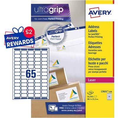 Avery L7651-250 Mini Address Labels Self Adhesive 38.1 x 21.2 mm White 250 Sheets of 65 Labels