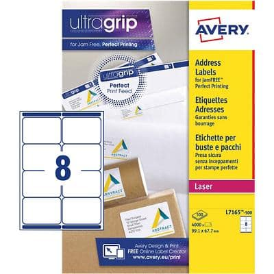 Avery Parcel Labels L7165-500 White 4000 pieces