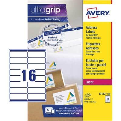 Avery L7162-500 Address Labels Self Adhesive 99.1 x 33.9 mm White 500 Sheets of 16 Labels