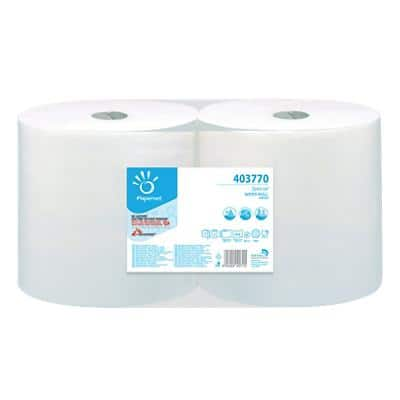 Papernet Wiping Paper Industrial 403770 2 Ply Rolled White 816 Sheets Pack of 2