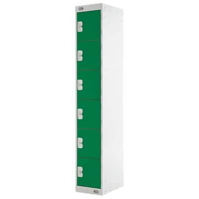 LINK51 Standard Mild Steel Locker with 6 Doors Standard Deadlock Lockable with Key 300 x 450 x 1800mm Grey & Green