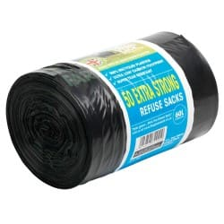 The Green Sack extra-strong sacks black 940 x 710 mm (h x w) 15 kg/60 L capacity roll of 50