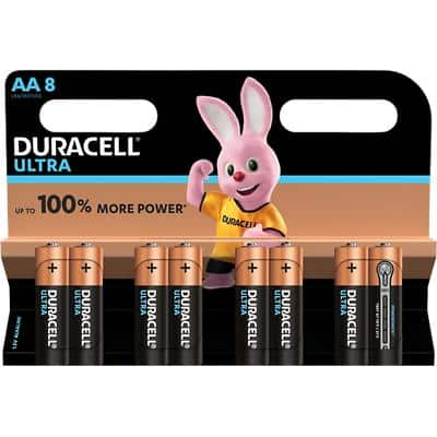 Duracell AA Alkaline Batteries Ultra Power MX1500 LR6 1.5V Pack of 8