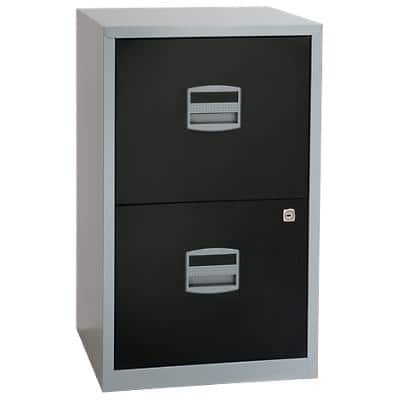 Bisley Filing Cabinet with 2 Lockable Drawers PFA2 413 x 400 x 672mm Silver & Black