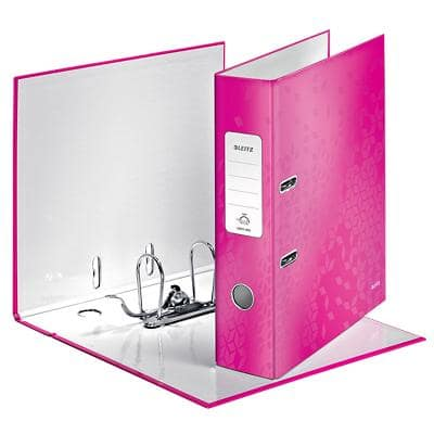 Leitz WOW Lever Arch File 80 mm Cardboard 2 Rings A4 Pink