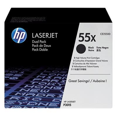 HP 55X Original Toner Cartridge CE255XD Black Pack of 2