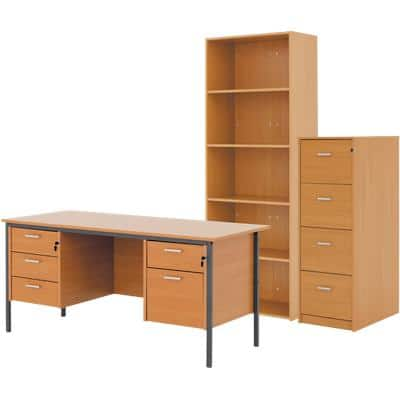 Classic bundle deal including executive desk, filing cabinet and bookcase in beech-effect