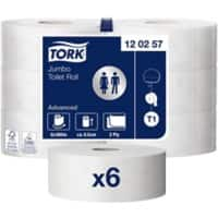 Tork Toilet Rolls T1 Advanced Jumbo 2 Ply 6 Rolls of 1800 Sheets