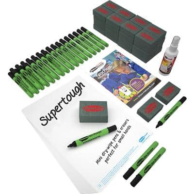 Show-me SUPERTOUGH Class Pack of Drywipe Boards, Pens & Erasers 107 Pieces