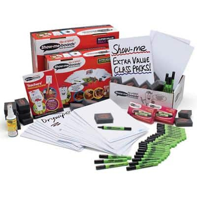 Show-me SUPERTOUGH Bulk Box of Drywipe Boards, Pens & Erasers 300 Pieces