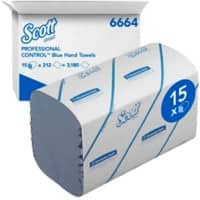 Scott Hand Towels Medium 1 Ply M-fold Blue 212 Sheets Pack of 15