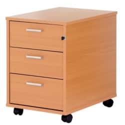 Classic Plus Three-Drawer Mobile Pedestal In Beech-Effect