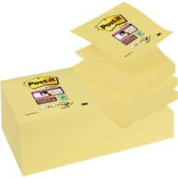 Post-it® Super Sticky Notes Canary Yellow Z-Notes (76 x 76) - Pack of 12