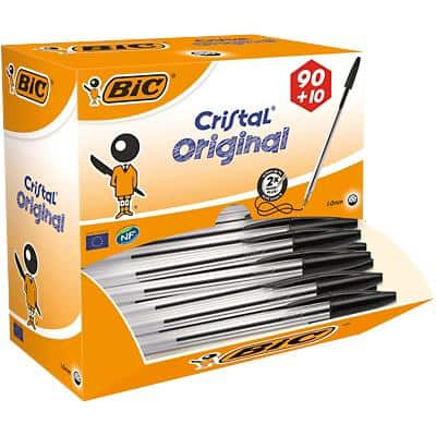 BIC Cristal Original Ballpoint Pen Medium 0.4 mm Black Pack of 100
