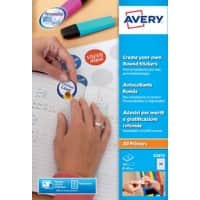 Avery E3613 Round Reward Stickers Self Adhesive 40 mm White 8 Sheets of 24 Labels