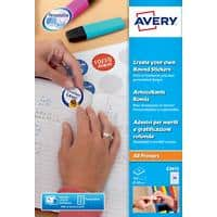 Avery E3613 Round Reward Stickers A4 White 8 Sheets of 24 Labels