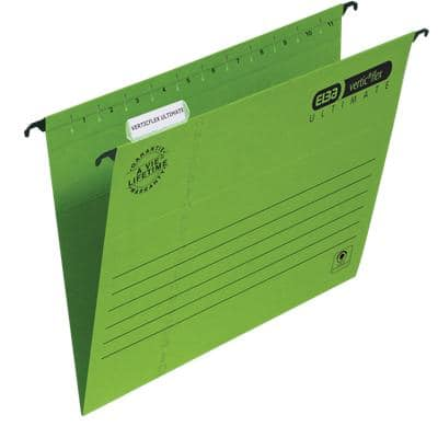 ELBA Vertical Suspension File Verticflex Ultimate A4 V Base 240gsm Green Pack of 25