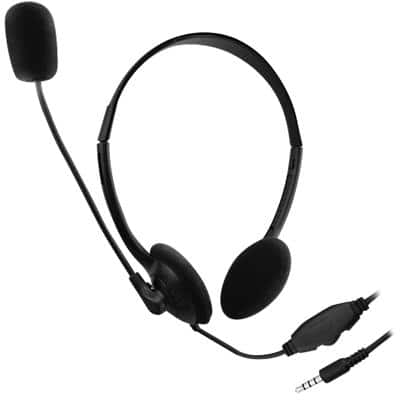 ewent Wired Headset EW3567 Over-The-Head Style 3.5mm Connector With Microphone Black