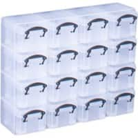 Really Useful Boxes Storage Unit 16org 0.14 L Black, Transparent Plastic 28 x 6.5 x 22.4 cm 16 Pieces