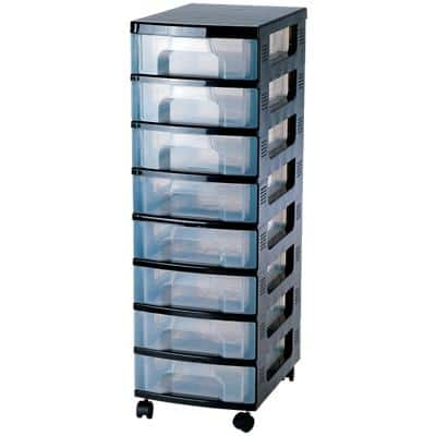 Really Useful Boxes Storage Unit DT1008 Black, Transparent Plastic 30 x 42 x 92.5 cm