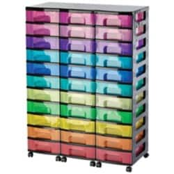 Really Useful Box storage unit black tower with 33 x 7 L rainbow drawers