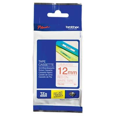 Brother P-Touch TZe-232 Labelling Tape Red On White 12 mm x 8 m