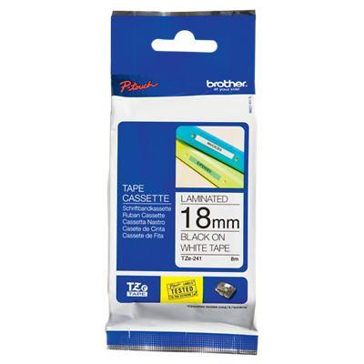 Brother P-Touch TZe-241 Labelling Tape Black On White 18 mm x 8 m