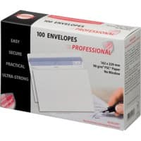 PROFESSIONAL C5 Envelopes 229 x 162 mm Flap Plain 90gsm White Pack of 100