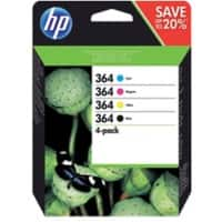 HP 364 Original Ink Cartridge N9J73AE Black & 3 Colours Pack of 4