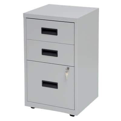 Realspace Pedestal with 3 Lockable Drawers Metal 400 x 400 x 660mm Grey