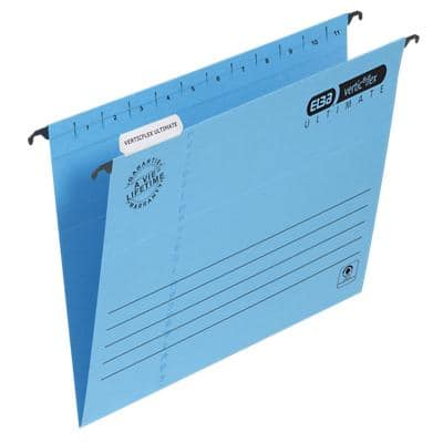 ELBA Vertical Suspension File Verticflex Ultimate Foolscap V Base 240gsm Blue Paper Pack of 25