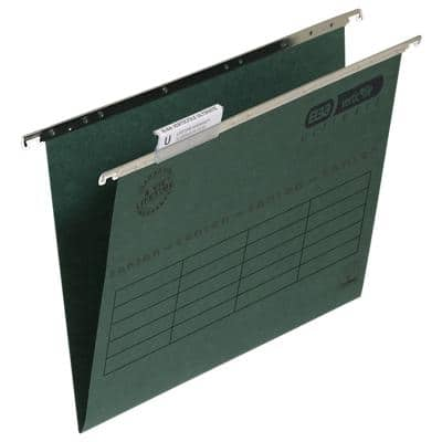 ELBA Vertical Suspension File Foolscap V Base 240gsm Green Pack of 50