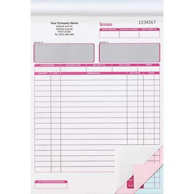 Ease-Apart Personalised Invoice Books 20 x 27 cm 5 Pieces of 50 Sheets