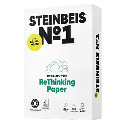 Steinbeis Recycled 100% Classic Printer Paper A3 80gsm White 500 Sheets