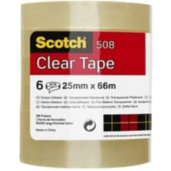 Scotch Tape Easy Tear 25 mm x 66 m Transparent 6 rolls