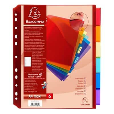 Exacompta Tabbed Pockets A4+ 200 Micron Assorted Pack of 6