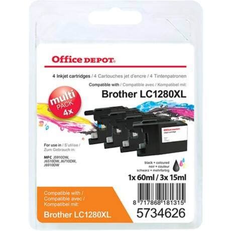 Office Depot Compatible Brother LC1280XL Ink Cartridge Black & 3 Colours 4 Pieces